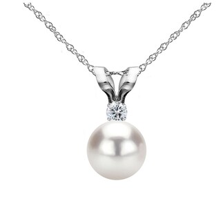 DaVonna 14k Gold 8-8.5 mm Japanese Akoya Cultured Pearl .01 CTTW Diamond Chain Pendant Necklace 18 inch
