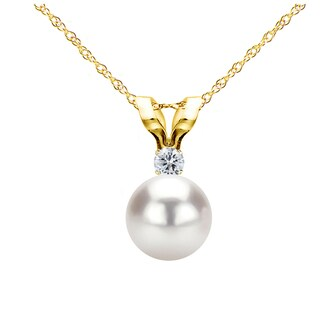 DaVonna 14k Gold 7 7 5mm Japanese Akoya Cultured Pearl 01 CTTW Diamond Chain Pendant Necklace 18 Inch