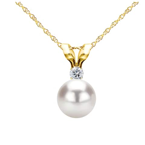 DaVonna 14k Gold 6-6.5mm Japanese Akoya Cultured Pearl .01 CTTW Diamond Chain Pendant Necklace 18 inch