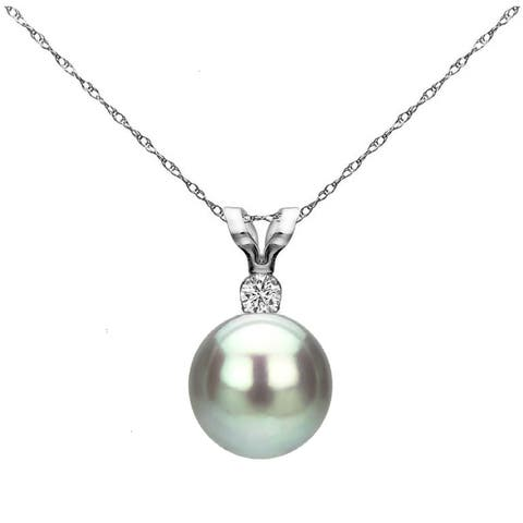 a4516cadbd 14k White Gold 8-8.5 mm Freshwater Pearl .01 CTTW Diamond Chain Pendant  Necklace