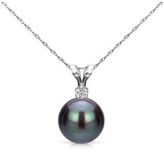 14k White Gold 8-8.5 mm Freshwater Pearl .01 CTTW Diamond Chain Pendant Necklace 18 inch (Option: Black)