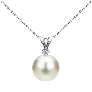 14k White Gold 8-8.5 mm Freshwater Pearl .01 CTTW Diamond Chain Pendant Necklace 18 inch