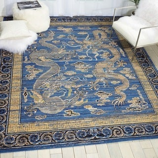 Nourison Barclay Butera Dynasty Emperors Azure Blue Wool Area Rug (9'9 x 12'8 )