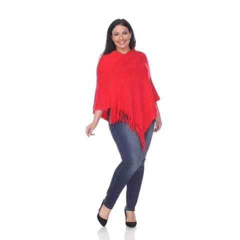 White Mark Women's Plus Size Meera Fringe Poncho