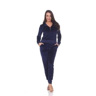 White Mark Women's Fitted Velour 2 Piece Set