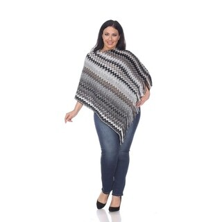 White Mark Plus Size Mesila Fringe Poncho (Option: Brown)