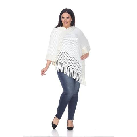 White Mark Women's Plus Size Sansa Gold Knit Fringe Poncho