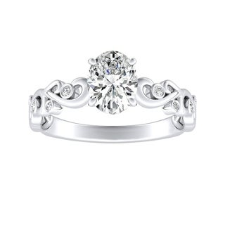 Auriya 18k Gold GIA Certified 3/4ct TDW Vintage Filigree Scroll Oval-Cut Diamond Engagement Ring