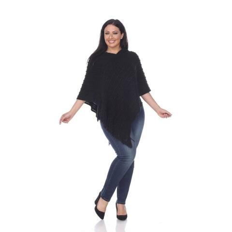 White Mark Women's Plus Size Melisandre Fringe Poncho