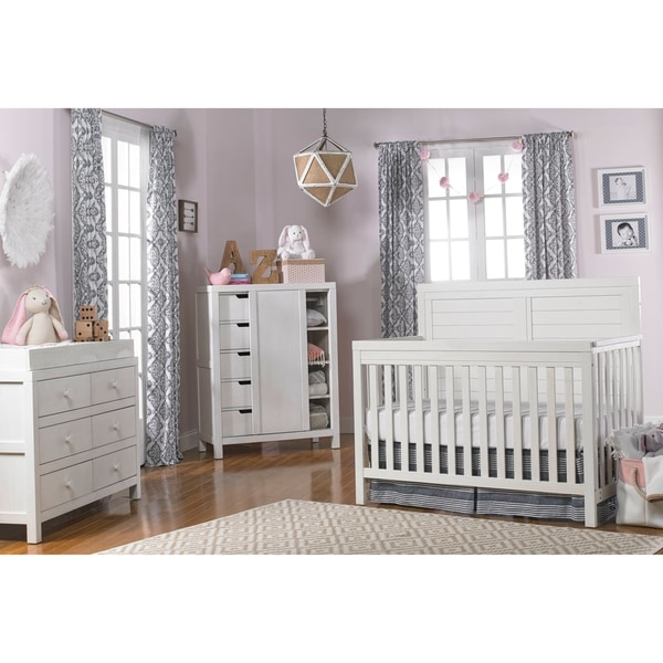 Ti Amo Castello 4-in-1 Convertible Crib Weathered Seashell White