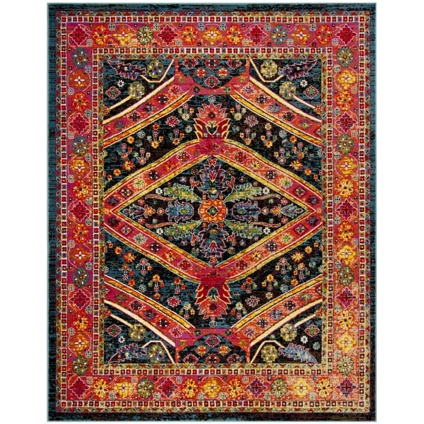 shop safavieh cherokee bohemian turquoise light orange rug 8 39 x 10 39 on sale free shipping. Black Bedroom Furniture Sets. Home Design Ideas