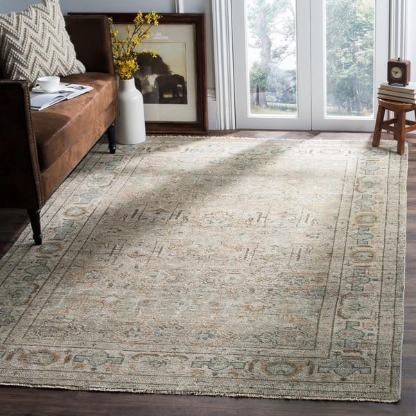 Shop Persian Oriental New Zealand Wool Area Rug: Shop Safavieh Hand-Knotted Izmir Linen/ Dusty Teal New