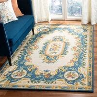 Safavieh Handmade Micro-Loop Cream/ Blue Wool Rug - 8' x 10'