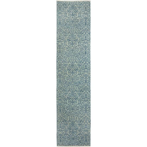 Arshs Kafkaz Peshawar Cyrena Lt. Green/Lt. Blue Wool Runner (2'4 x 9'10) - 2 ft. 4 in. x 9 ft. 10 in.