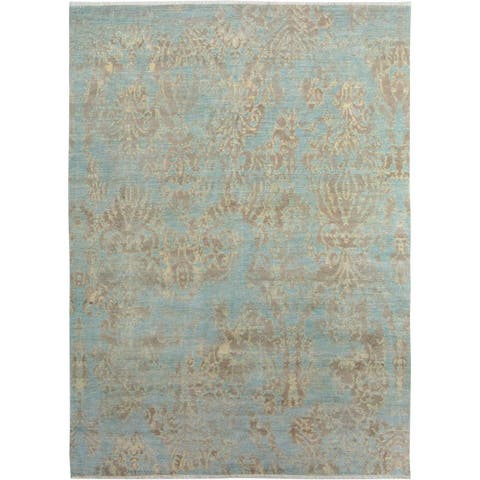 Arshs Kafkaz Peshawar Curt Blue/Brown Wool & Viscouse Rug (8'1 x 10'3) - 8 ft. 1 in. x 10 ft. 3 in.