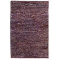 Arshs Kafkaz Peshawar Davis Purple/Blue Wool Rug (3'11 x 5'8)