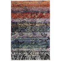 Arshs Kafkaz Peshawar Ollie Blue/Black Wool Rug - 3'11 x 6'0