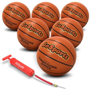 GoSports Indoor Synthetic Leather Competition Basketball 6 Pack with Pump and Carrying Bag