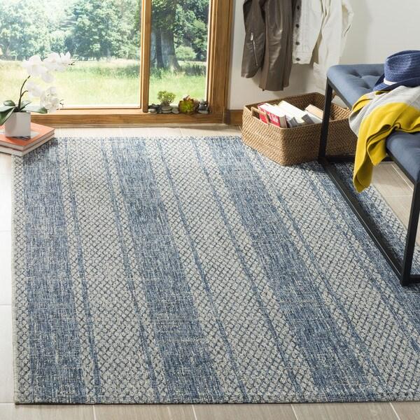 Safavieh Indoor/ Outdoor Courtyard Light Grey/ Blue Rug (2' x 3' 7)
