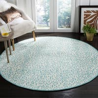 Safavieh Hand-Woven Marbella Ivory/ Turquoise Polyester Rug - 6' x 6' Round