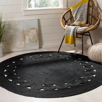 Safavieh Handmade Natural Fiber April Black Jute Rug - 6' x 6' Round