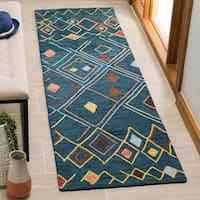 Safavieh Hand-Hooked Suzani Dark Blue/ Multi Wool Rug - 2'3 x 8'