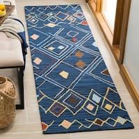 Safavieh Hand-Hooked Suzani Blue/ Multi Wool Rug - 2'3 x 8'