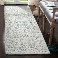 Safavieh Handmade Trace Blue/ Ivory Wool Rug - 2'3 x 8'