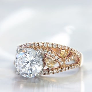 Lihara and Co. 18k Rose and White gold 1/3 ct White Diamonds and 1/4 ct Fancy Colored Diamond Semi-Mount Engagement Ring