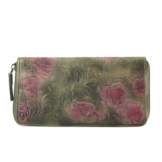 Diophy Genuine Leather Cameo Rose Round-zip Wallet