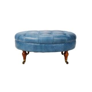 Aurelle Home Blue Leather Tufted Ottoman
