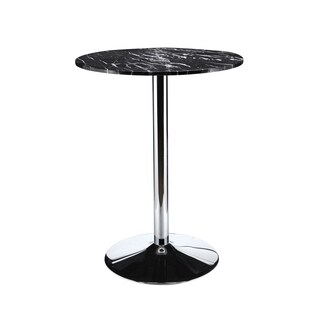 Aurelle Home Black Marble Round Bar Table
