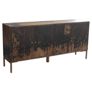 Aurelle Home Rustic Black Solid Wood Sideboard