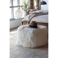 Aurelle Home Modern White Lamb Natural Pouf
