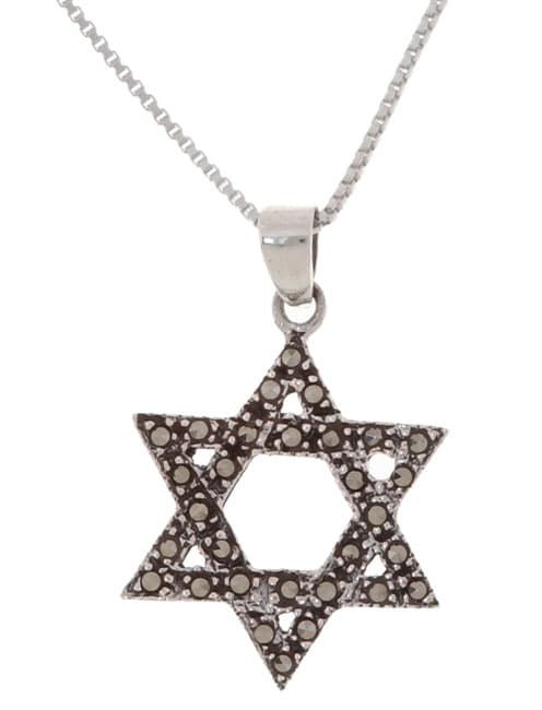 Glitzy Rocks Sterling Silver Marcasite Star of David Pendant - Thumbnail 0