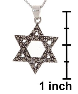 Glitzy Rocks Sterling Silver Marcasite Star of David Pendant - Thumbnail 2