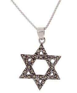 Glitzy Rocks Sterling Silver Marcasite Star of David Pendant