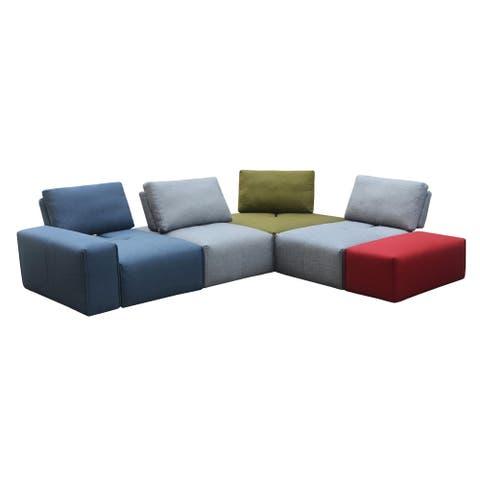 "Aurelle Home Nikoli Modern Upholstered Modular Sectional Sofa - 32"" x 118"" x 96"""