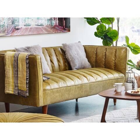 Aurelle Home Green Mid Century Top Grain Leather Sofa