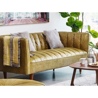 Aurelle Home Green Mid Century Top Grain Leather Sofa