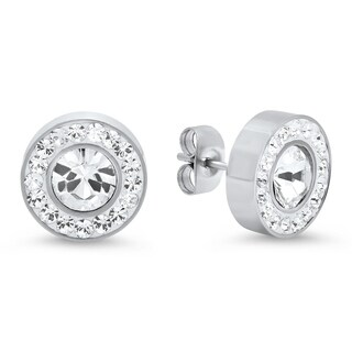 Piatella Ladies Stainless Steel Halo Stud Earrings Adorned with Swarovski Elements Crystals in 4 Colors