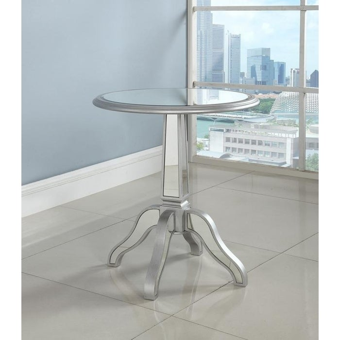 Best Master Furniture Silver Mirrored Round Side Table On Sale Overstock 18756999
