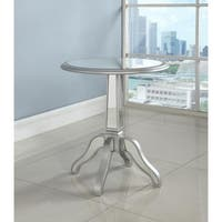 Best Master Furniture Silvertone Wood Mirrored Round Side Table with Glass Top