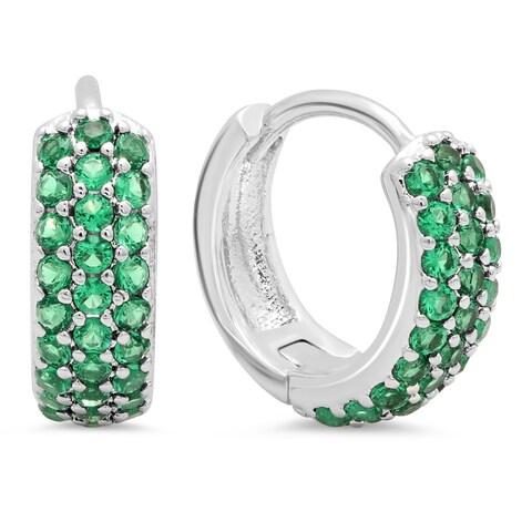 Piatella Ladies White Gold Tone Brass Green Spinel Leverback Earrings