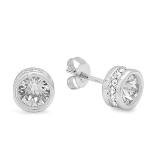 Piatella Ladies Gold Tone Brass Bezel Set Stud Earrings Adorned with Swarovski Crystals in 2 Colors