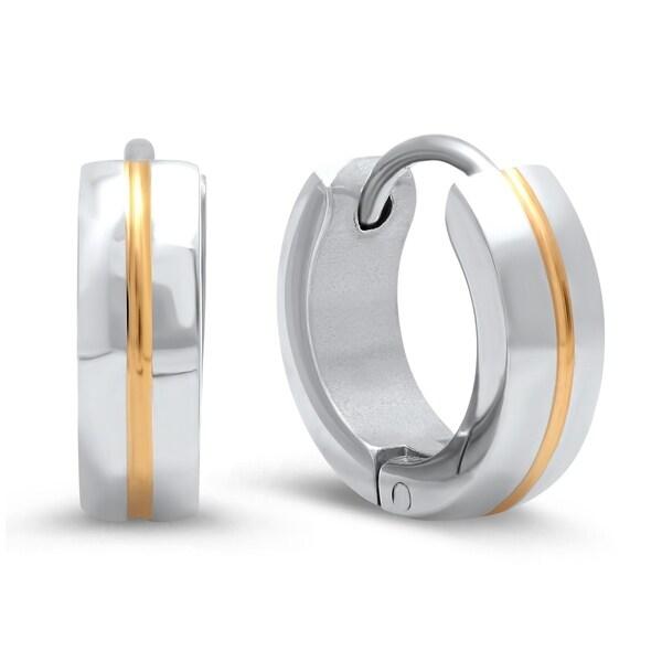 fb2db9b61 Shop Piatella Ladies Two-Tone Stainless Steel Center Inlay Earrings ...