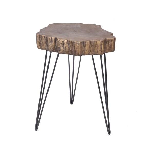 aurelle home live edge modern gold magnesium oxide accent table
