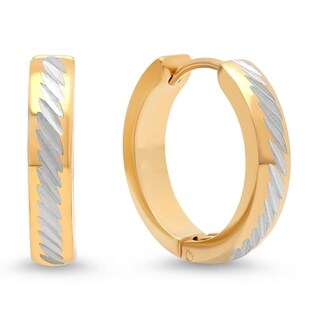 Piatella Ladies Two-Tone Stainless Steel Leverback Earrings with Hammered Inlay