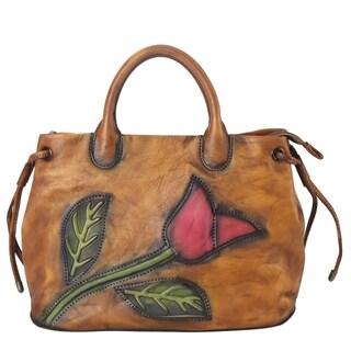 Diophy Genuine Leather Cameo Tulip Large Top Handle Handbag