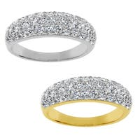 14k Yellow or White Gold 7/8ct TGW Round-cut Cubic Zirconia Dome Band - Clear